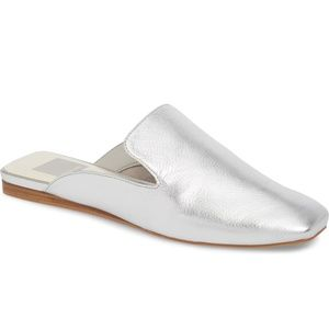 Dolce Vita Brie Silver Leather Mules NWOB